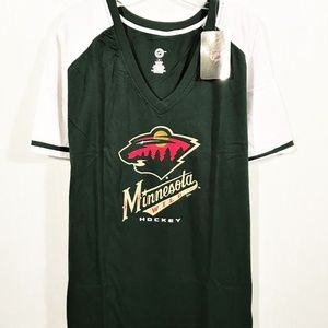 Minnesota Wild NHL Womens 2X V-Neck Raglan Sleeve